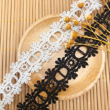 14yards width2.2cm black white polyester embroidery lace ribbon water soluble fabric wedding dress underwer lace accessories DIY
