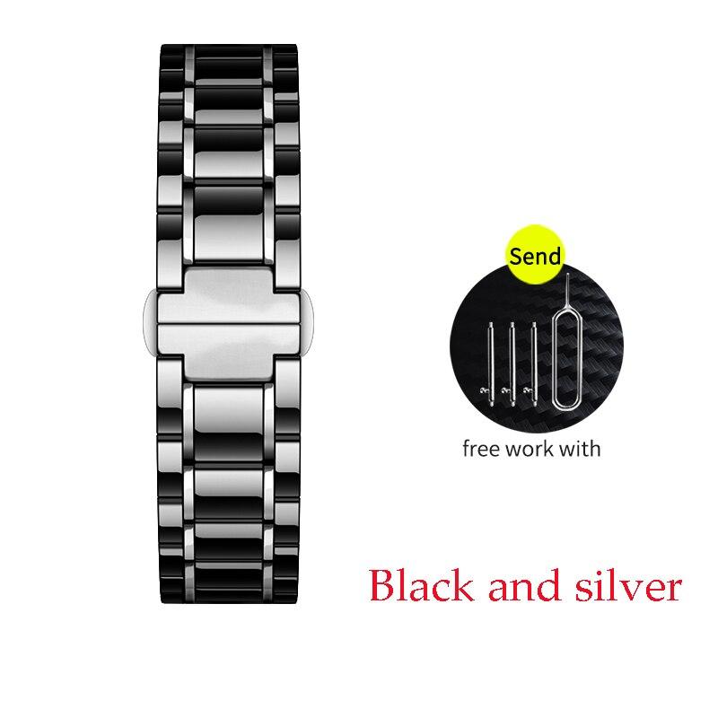 Керамический ремешок для часов для xiaomi smart watch сменный ремешок для mi часы браслет-цепочка ремешок аксессуары - Цвет ремешка: black and silves
