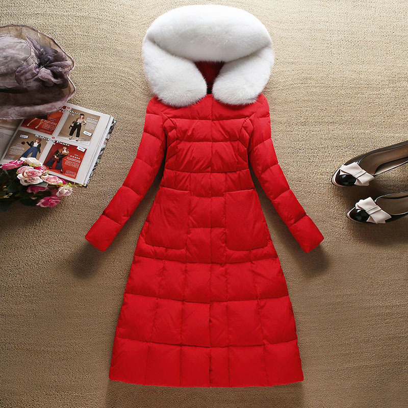 Fashion Winter Coat Female 90% Duck Down Jacket + Large Fox Fur Hooded Korean Ladies Warm Thick Long Coats Hiver YRF9802A