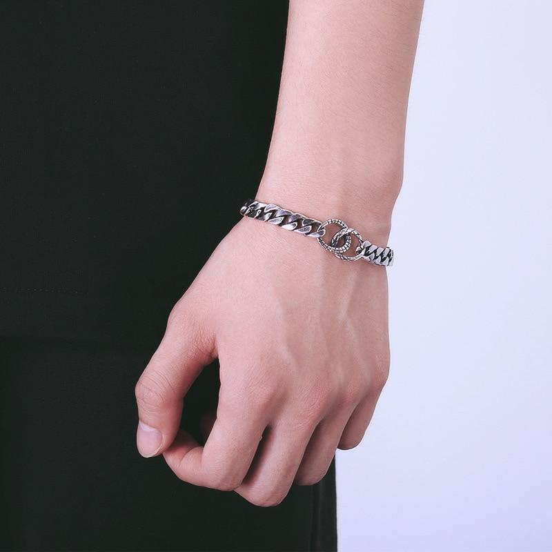 925 стерлингового серебра браслет пара простой дизайн ретро мода индивидуальный стиль ювелирных изделий, чтобы отправить подарки для любителей 2019 Лидер продаж - 4