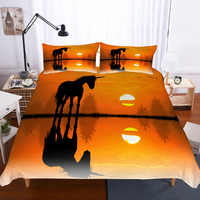 Anime Bedding Unicorn in the Sunset Bed Sets 3d printed Bed Linen Cotton Home Textile