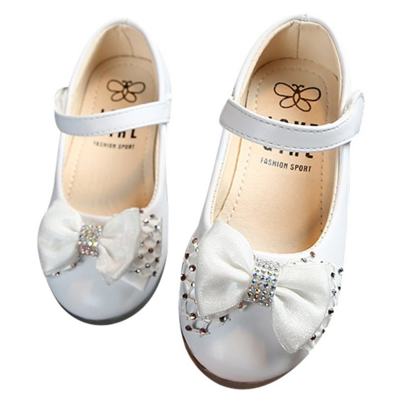 Baby Girls Shoes PU Leather Buckle First Walkers With Bow Soft Soled Non-slip Crib Kids Baby Girl Shoes