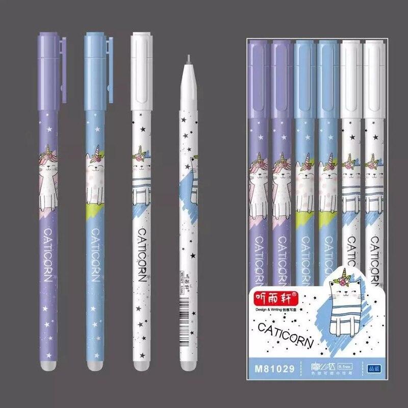 3Pcs/Set Unicorn Flamingo Erasable Washable Handle Erasable Pen Refill 0.5mm Blue Ink Black Cat Gel Pens For School Supplies