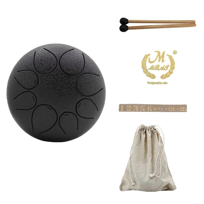 Mmbat 5 Inch Steel Tongue Drum Mini 8 Tone G Tune Hand Pan Drum Tank Hang Drum With Drumsticks Carrying Bag Percussion Instrumen