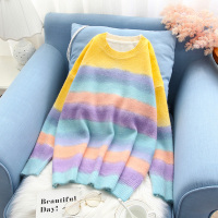 rainbow color women sweater knitted loose lantern sleeved loose casual sweet girl pulls fashion outwear coat tops
