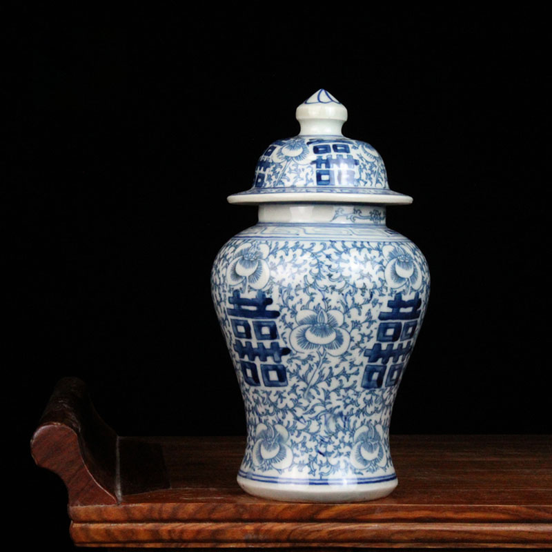 Chinese Blue and White Porcelain Vase Retro Painted Living Room TV Cabinet Flower Vases Hotel Desktop Dried Flowers Organizer