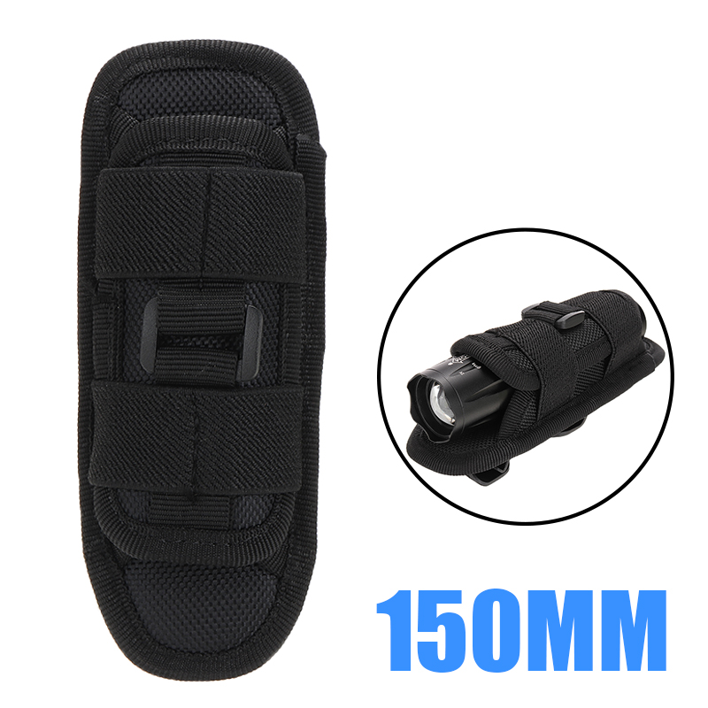 Black 15cm LED Flashlight Torch Nylon 360 Degree Clip Pouch Hunting Torch Holster Holder Belt Bag Case Pouch For Hiking
