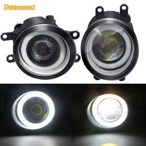 Image 1 - 2 X LED Angel Eye Nebel Licht Auto Front Nebel Lampe 12V Für Toyota Land Cruiser Prado Corolla Prius verso Avensis Estima Allion Aygo