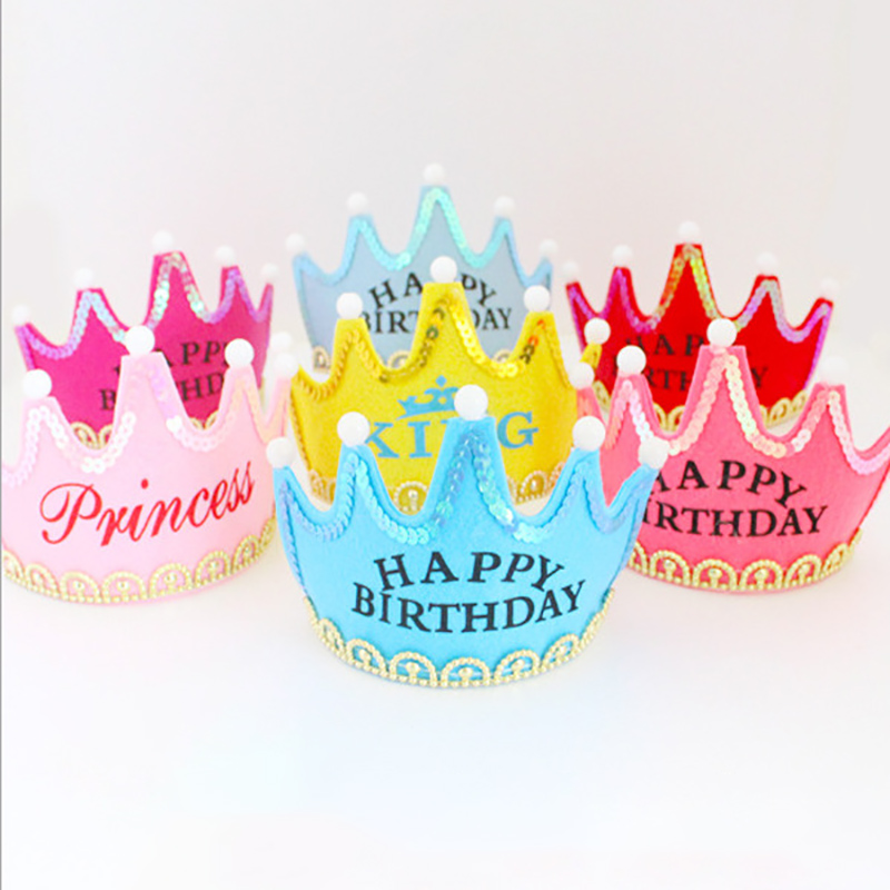 Kid Fashion Kids Birthday Party Beautiful Hat Crown Hat King Princess Party Cake Decoration Photo Props For Children Party Hat