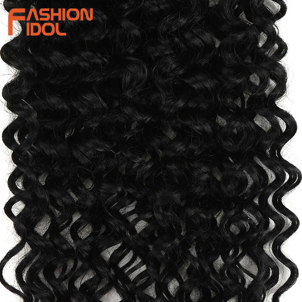 Mode Idol Afro Kinky Krullend Synthetisch Haar Hittebestendige Diepe Golf Haar Bundels Extensions Bruin 2 Stks/partij 26Inch Weave haar