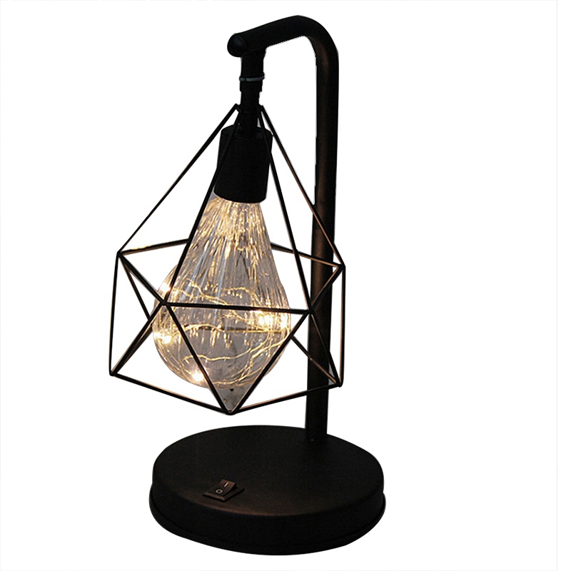 Creative Holiday Retro Iron Art Minimalist Hollow Diamond Table Lamps Reading Lamp Night Light Bedroom Desk Lighting