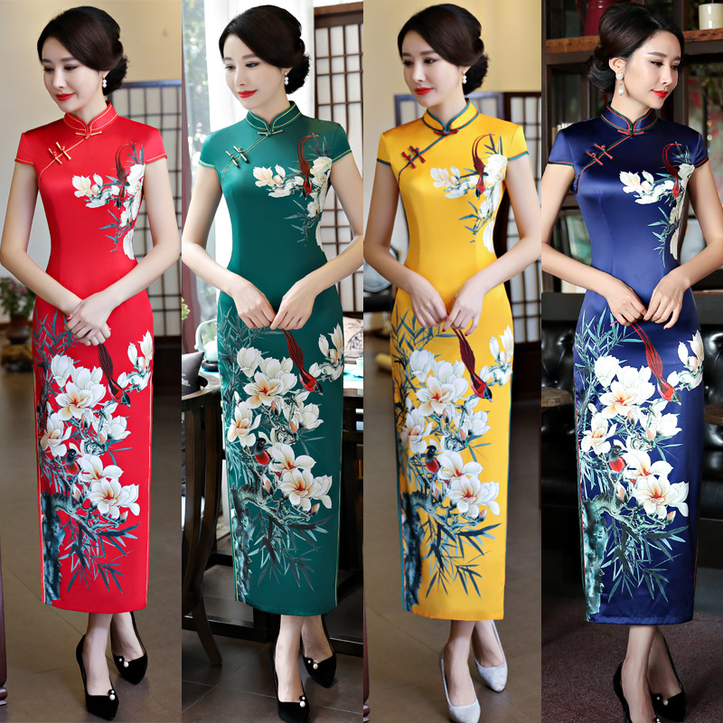 Manches courtes Cheongsam Long Qipao femmes chinois robe traditionnelle Style Oriental robes chine magasin de vêtements