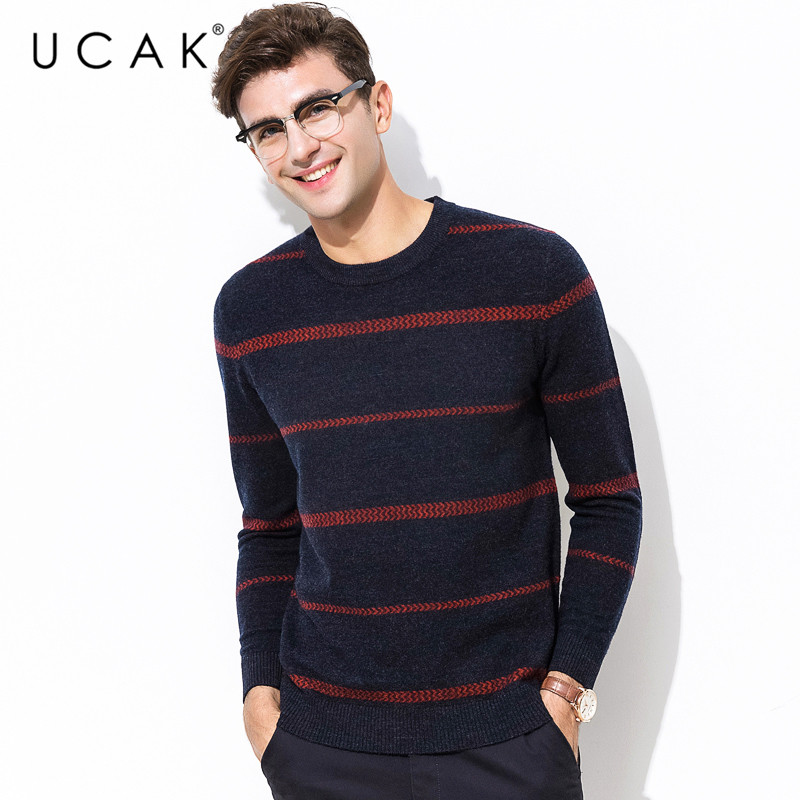 UCAK Brand Pure Merino Wool Sweater Men Casual Striped Pull Homme O-Neck Pullover Men Autumn Winter Warm Cashmere Sweaters U3074