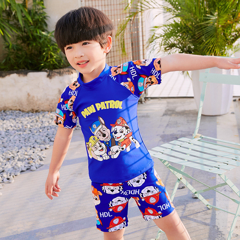 Korean-style BOY'S Swimsuit Boxer Split Type Set Short Sleeve Two-Piece Set CHILDREN'S Swimsuit Quick-Dry Hot Springs Bathing Su