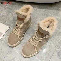 HQFZO femmes bottes de neige plat hiver femmes chaussures chaud en peluche hiver chaussures 2019 femme bottine chaussures