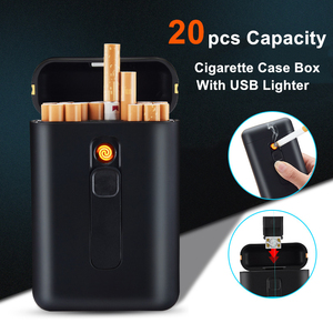 20pcs Capacity Cigarette Case with USB Electric Lighter Windproof Tungsten Plasma Arc Lighters for Regular Cigarette Mens Gift