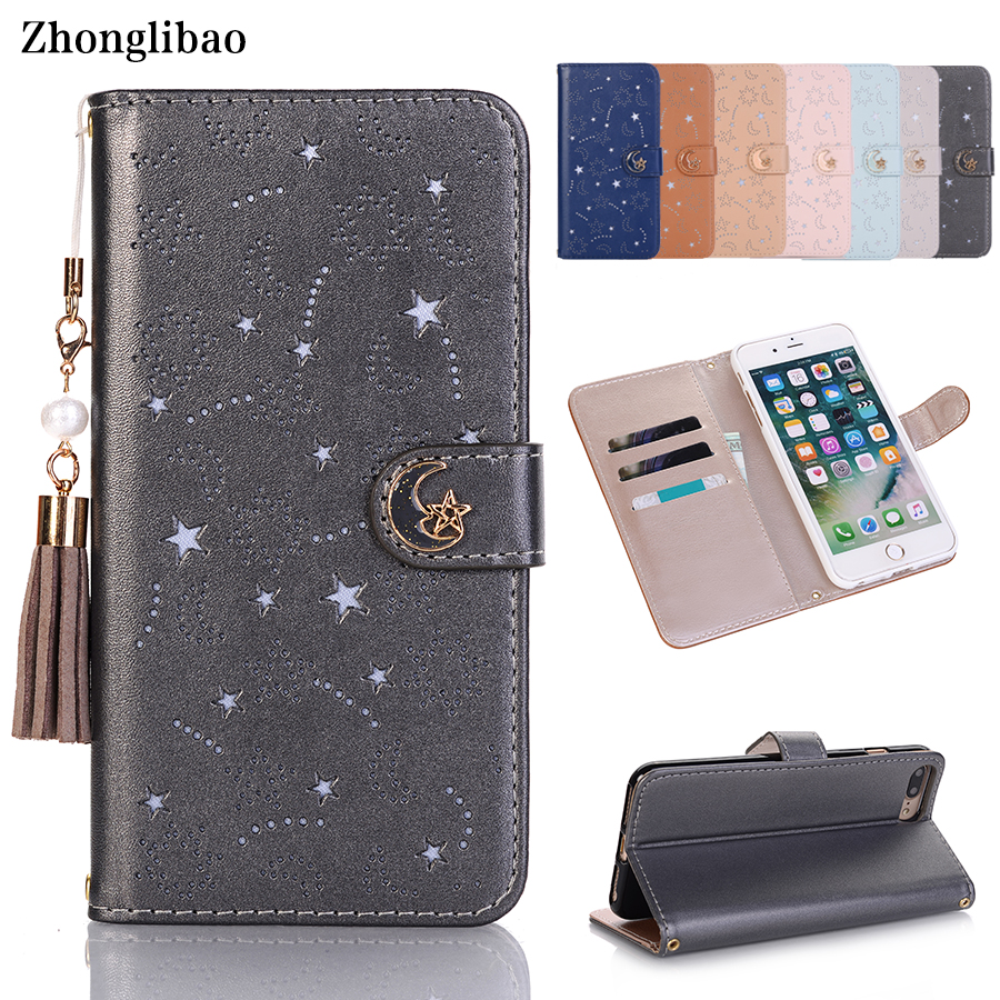 Luxury Tassel Pearl Hollow Leather Flip Case for Iphone X 8 7 6 6S Plus Xs Max Xr Cute Star Month Magnetic Wallet 360 Book Cover image