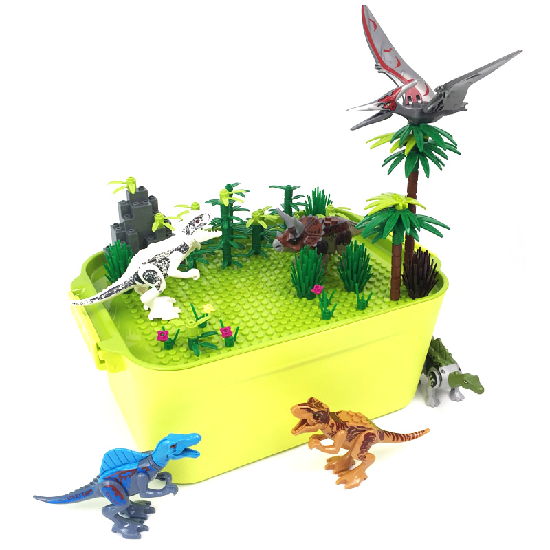 Jurassic Dino World Builidng Blocks Box for Boys Gift Moc 6 Dinosaurs Forest Trees Compatible Bricks BasePlate Toys for Children