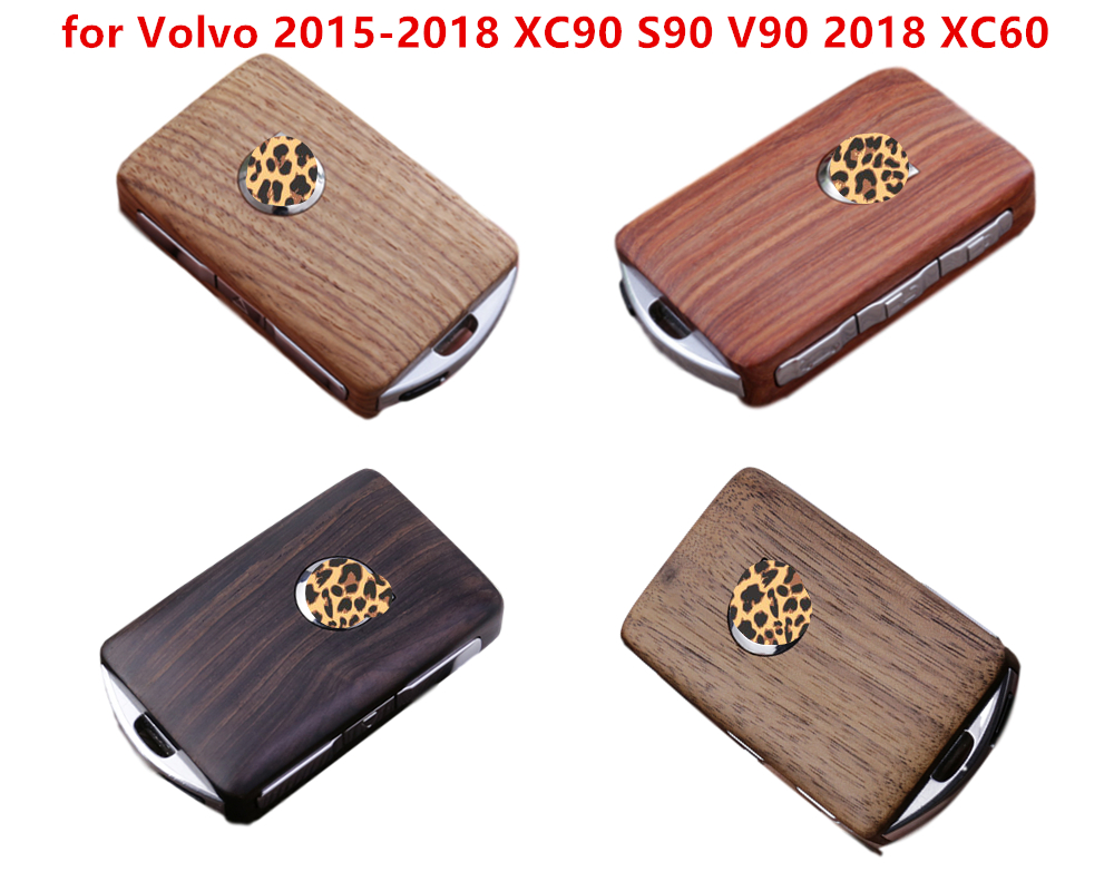 1Set Keyless Entry Remote Control Refit Wooden Car Key Shell Replacement for Volvo 2015-2018 XC90 S90 V90 2018 XC60 (case only)