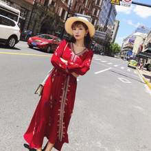 Women dress 2020 Summer Full Sleeve Printed Flower Slim dress Elegant Vintage Novelty dress Femal vestidos DJ403(China)