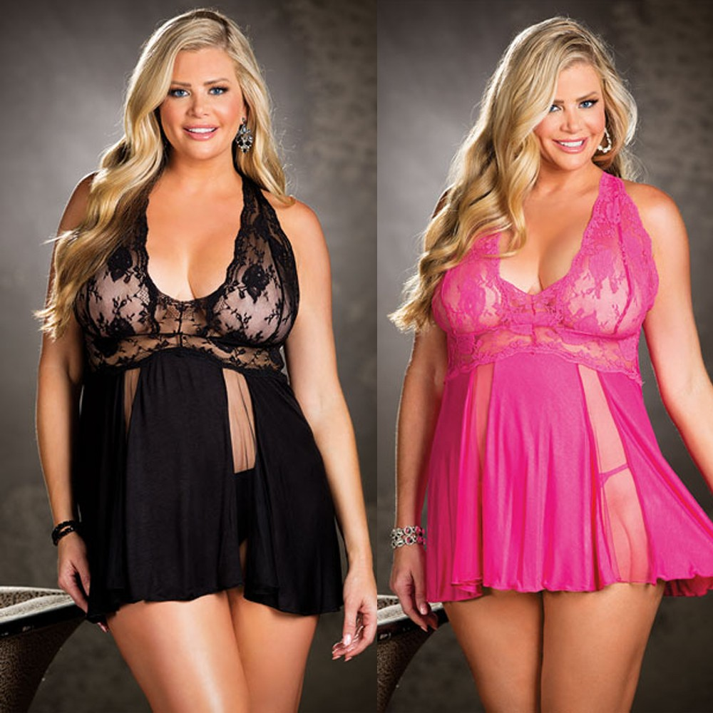 New Sleepwear Plus Size Lingerie For Women Babydoll V-Neck Lace Splice Mesh Sleepwear With G-string Chemise De Nuit Femme M-3XL