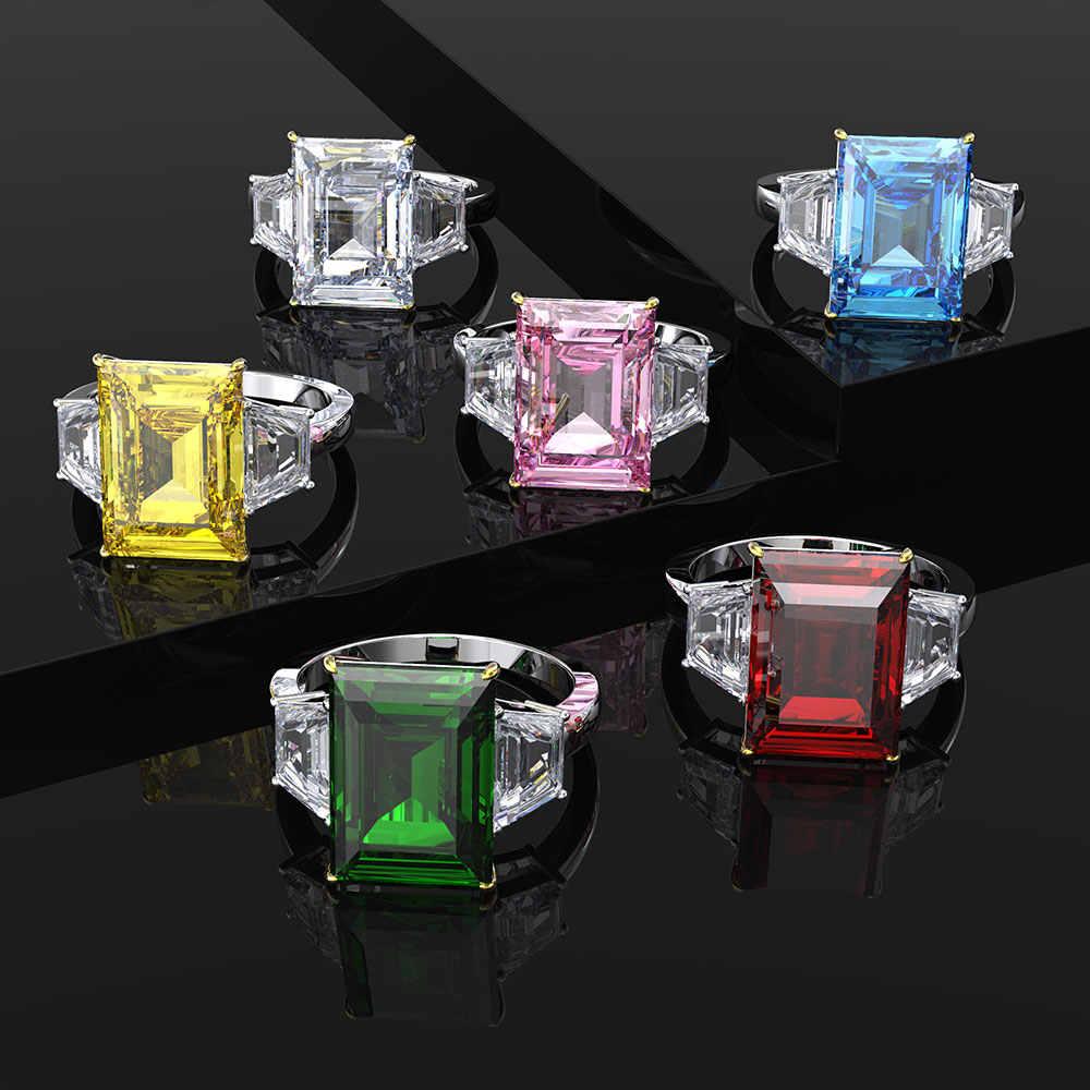 Anillo de piedra preciosa a la moda de rubí de compromiso de boda de nueva tendencia PANSYSEN para mujer Plata de Ley 925 100% auténtica joyería fina anillo regalos