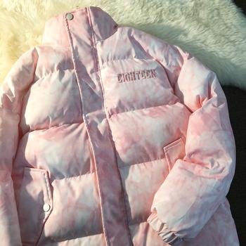 2020 jesień zima nowa para ins trend w stylu Harajuku kurtka podszyta bawełną płaszcz z podszewką kurtka wyściełana kurtka tanie i dobre opinie CN (pochodzenie) Silk-jak Bawełna COTTON POLIESTER REGULAR Grube Sukno zipper NONE LOOSE haft Z KIESZENIAMI Zamki błyskawiczne