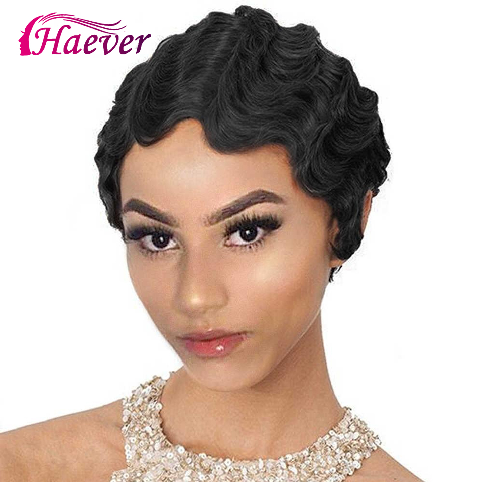 Haever Short Human Hair Wigs Short Wavy Mommy Wig For Women Finger Wave Wigs Brazilian Remy Hair For Fashion Women