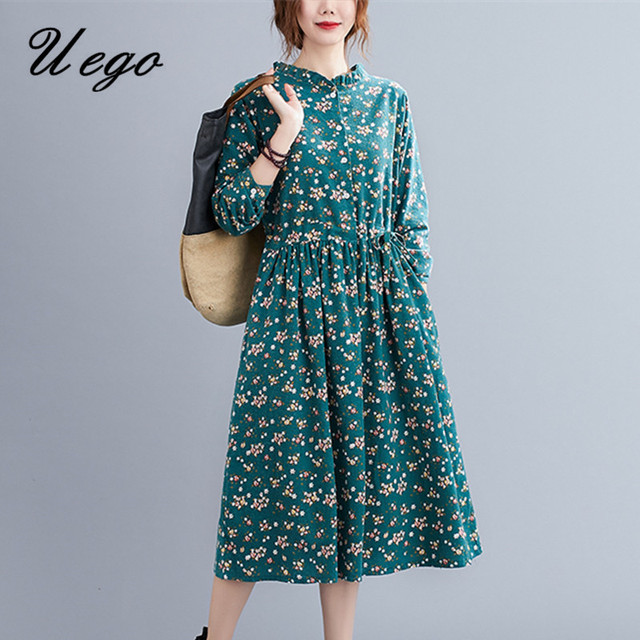 Uego Fashion Autumn Dress Linen Cotton Print Floral Prairie Chic Vintage Dress Drawstring Slim Women Casual Spring Midi Dress 1
