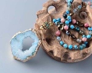 Image 4 - 自由奔放に生きるミックス天然石オニキス石druzyネパールペンダントネックレス手作り金色drusy女性ネックレスのドロップシッピング