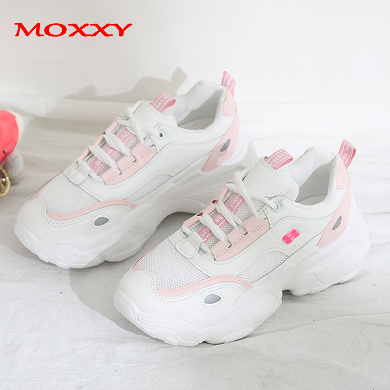 2019 New Retro Dad Sneakers Women Pink Beige Chunky Sneaker Platform Thick Sole Harajuku Fashion Casual Shoes Woman Basket Femme