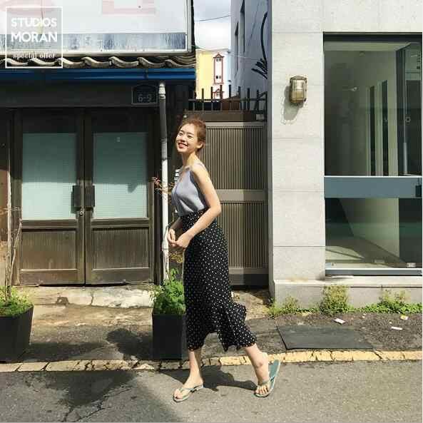 Design Skirts Women's Summer Japan Korea Design Temperament Comfortable Ruffled Mermaid Little Polka Dot Skirt High Waist N180