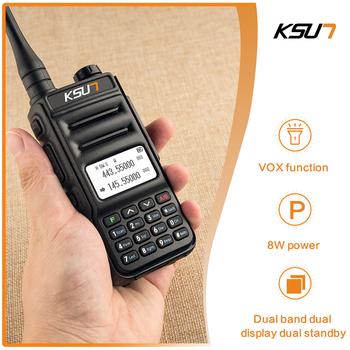 Walkie Talkie KSUN KS-UV2D 8W High Power Dual Band Handheld Two Way Ham Radio Communicator HF Transceiver Amateur Handy 2pcs quansheng tg uv2 plus walkie talkie 10km 10w 4000mah ham radio uhf vhf radio ham hf transceiver cb radio tg uv2 2 way radio