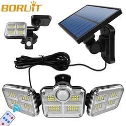 BORUiT 20w Super Bright Solar Lights 120 LEDs Waterproof Outdoor Indoor Solar Lamp PIR Motion Sensor Street Light for Garden