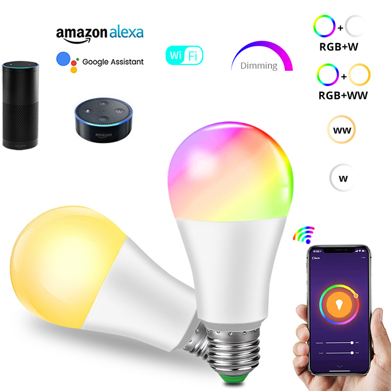 E27/B22 <font><b>Led</b></font> Lamp Wi-Fi Smart <font><b>Led</b></font> Light <font><b>Bulb</b></font> <font><b>15W</b></font>(90W) 1850LM Dimmable RGBW Indoor Lights For Alexa And Google Assistant image
