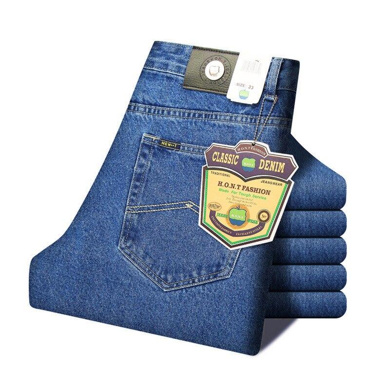 Мужские деловые джинсы, Классические весенние осенние мужские обтягивающие прямые Стрейчевые Брендовые джинсовые штаны, летние комбинезоны, облегающие брюки - Цвет: Blue Jeans