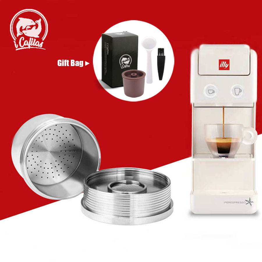 ICafilas Crema Coffee Filter For Illy X7.1 X8 X9 Y3 Y5 Y1.1 Reusable Cafe Capsule Cup Dripper Stainless Steel Refillable Baskets