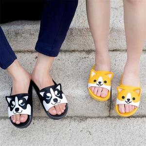 Image 3 - スーパーかわいいコーギーハスキーサンダル漫画オリジナルコスプレ衣装の靴夏の愛好家ソフト底日本ホームスリッパ素敵なギフト