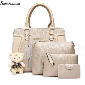 Image 1 - Soperwillton Fashion Luxury Handbags Women Bag Set Designer Purses Handbags Set 4 Pieces Bags Female Bolsa Feminina Hard #1122