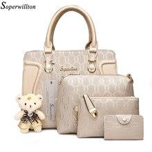 Soperwillton Mode Luxus Handtaschen Frauen Tasche Set Designer Geldbörsen Handtaschen Set 4 Stück Taschen Weibliche Bolsa Feminina Harte #1122