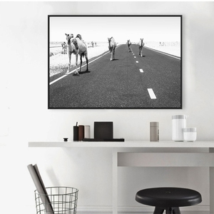 Canvas Print Home Decor Painting Camel Desert Animal Picture Wall Art Modular Black White Modern Nordic Style Poster Living Room(China)