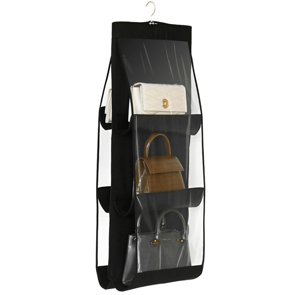 New 6 Pocket Folding Hanging Handbag Purse Storage Large Clear Holder Anti-dust Organizer Rack Hook Hanger 7 Color