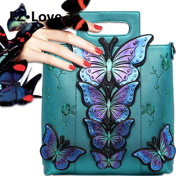 Women's Shoulder Bag Handbag Tote Purse PU Leather Crossbody Bags Butterfly Hand Painted Flower Embroidery Handle Bags Purse