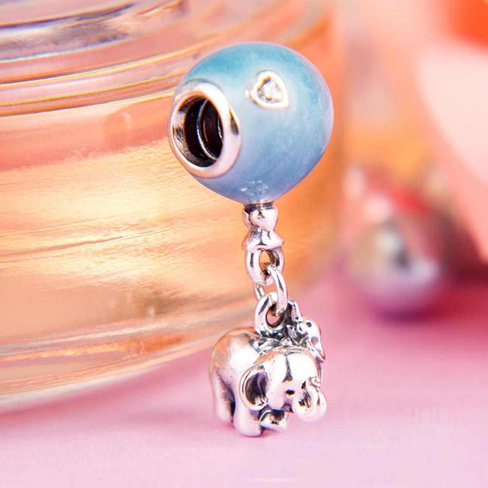 מקורי פיל מתנדנד ורוד & כחול אמייל בלון תליון חרוזים Fit 925 כסף סטרלינג קסם פנדורה צמיד Diy תכשיטים