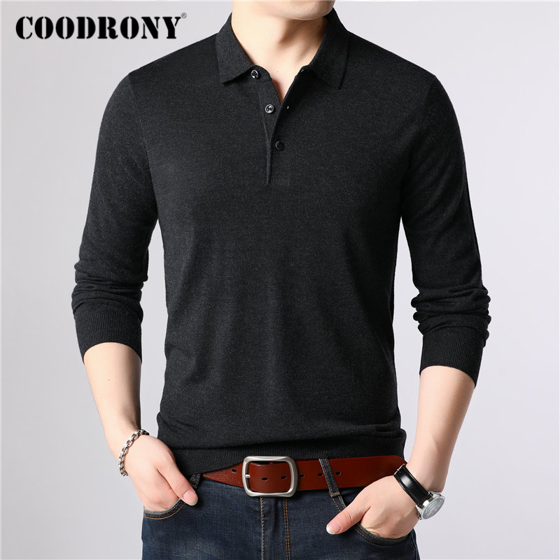 COODRONY Wool Pullover Sweaters Men Autumn Winter Cotton Homme Casual Classic 91084 Turn-Down-Collar