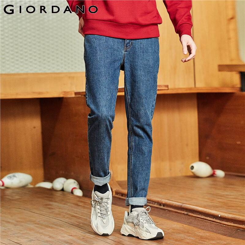 Giordano Men Jeans Full Length Slim Fit Denim Pants Five Pocket Style Mid Rise Vaqueros Hombre Jean Homme 01119072