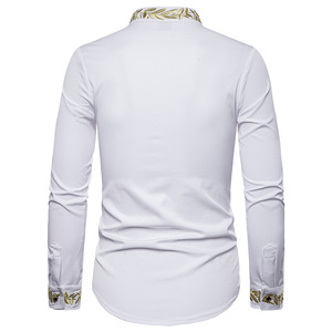 Image 2 - זהב רקמת חולצה גברים 2019 סתיו צווארון עומד חולצות גברים מקרית Slim Fit ארוך שרוול תחתונית Homme Camisa Masculina