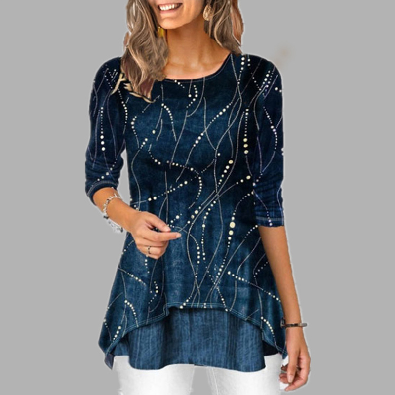 Plus Size 5XL O Neck 3/4 Sleeve Women's Tunics Dot Print Female Tunic Blouses Spring 2020 Summer Casual Irregular Hem Lady Shirt