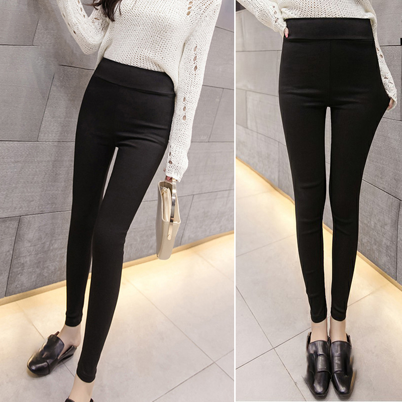 Women Pants Casual Elastic High Waist Skinny Slim Pencil Tight Bottoms Party Office Leggings Plus Size Solid Color