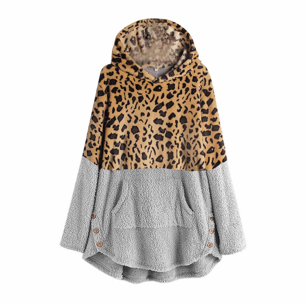 Свободные толстовки с капюшоном из страуса, женские футболки с леопардовым принтом, Зимние флисовые толстовки с длинными рукавами, повседневные женские топы размера плюс, harajuku, футболка с покемонами
